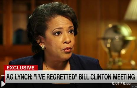 Lynch says she regrets tarmac meeting with Bill Clinton
