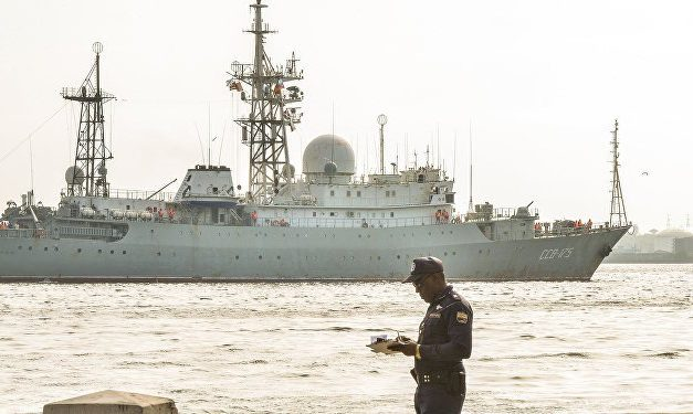 Russian spy ship returns off U.S. coast, near sub base