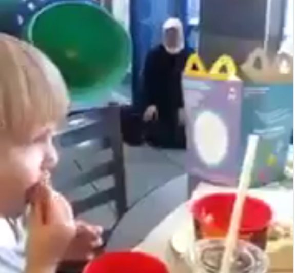 Muslim Woman Prays Inside of McDonald's – Scares Children at Playground (VIDEO)