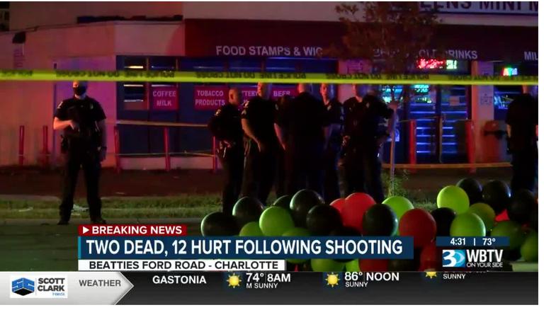 2 dead, 12 hurt after gunfire erupts at northwest Charlotte Juneteenth party