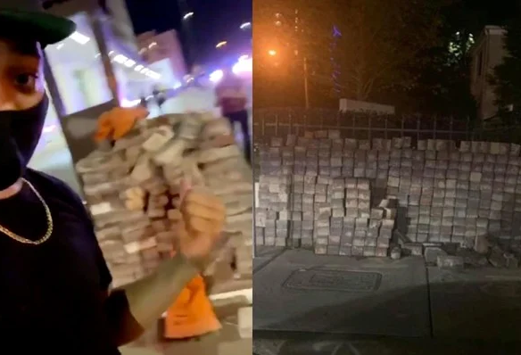"""ANTIFA being supplied by George Soros and the """"deep state"""" with pallets of BRICKS to riot with!!"""