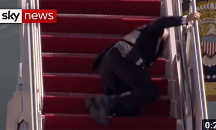 """Geriatric Joe"" Biden falls down 3 times while boarding Air Force one. Mainstream media refuses to cover this blatant example of dementia"