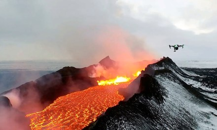 Drone footage inside a volcano