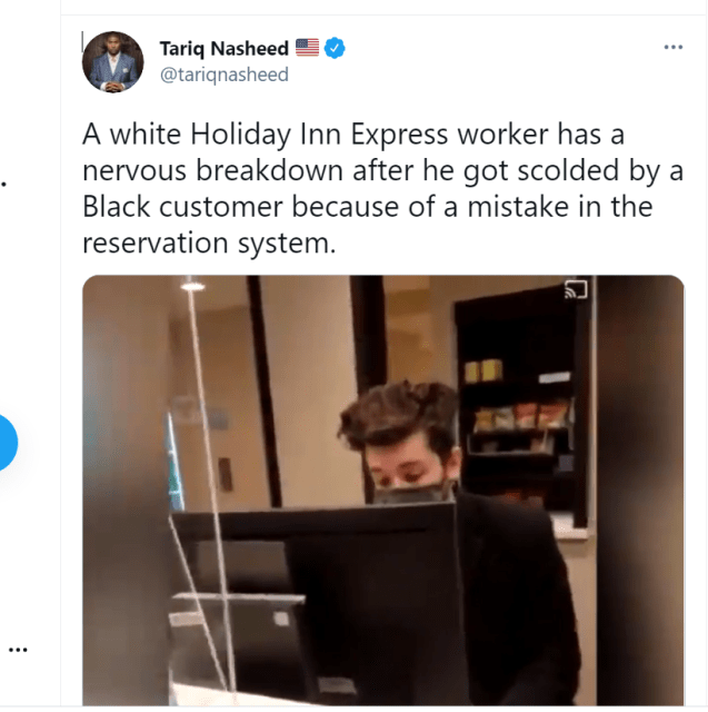HEART BREAKING: Autistic Holiday Inn Express worker has a nervous breakdown after interrogated by angry black activist.