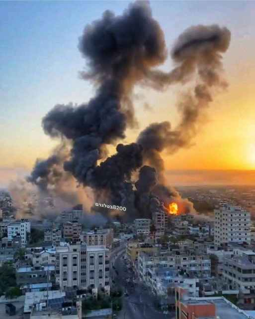 Gaza Government building COMPLETELY destroyed. IRAN VIP on the way to Damascus! Some VERY CLOSE footage of bombs falling near camera man!