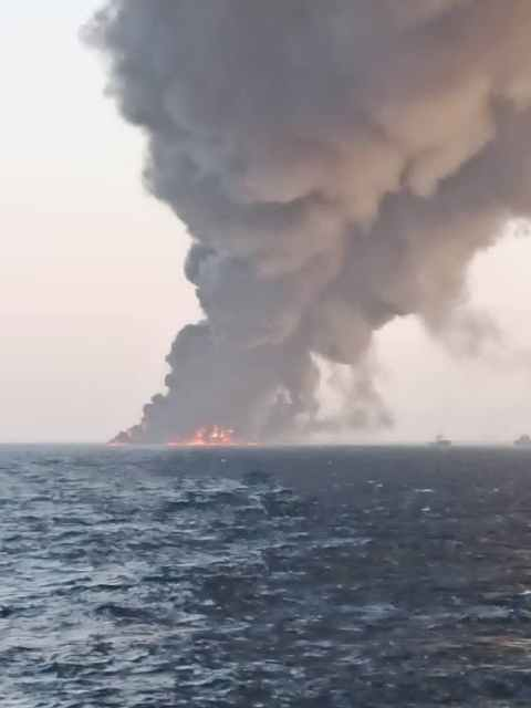 Iran's largest navy ship catches fire and sinks in the Gulf of Oman